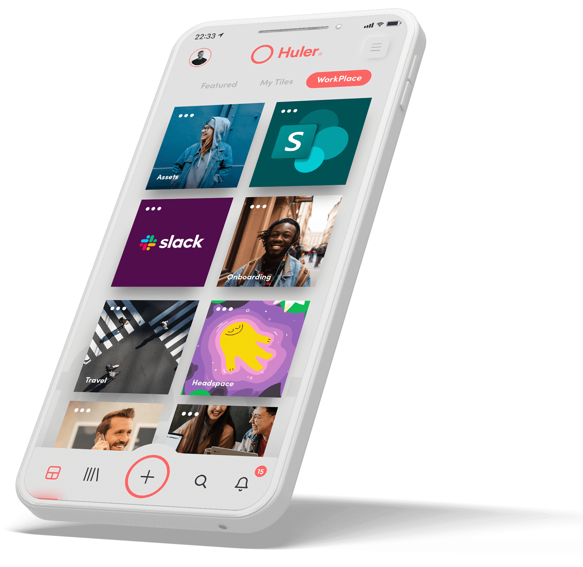 A graphic design of a white smartphone displaying the HulerHub Workplace with tiles for Slack, Sharepoint, Headspace, Travel and Onboarding.