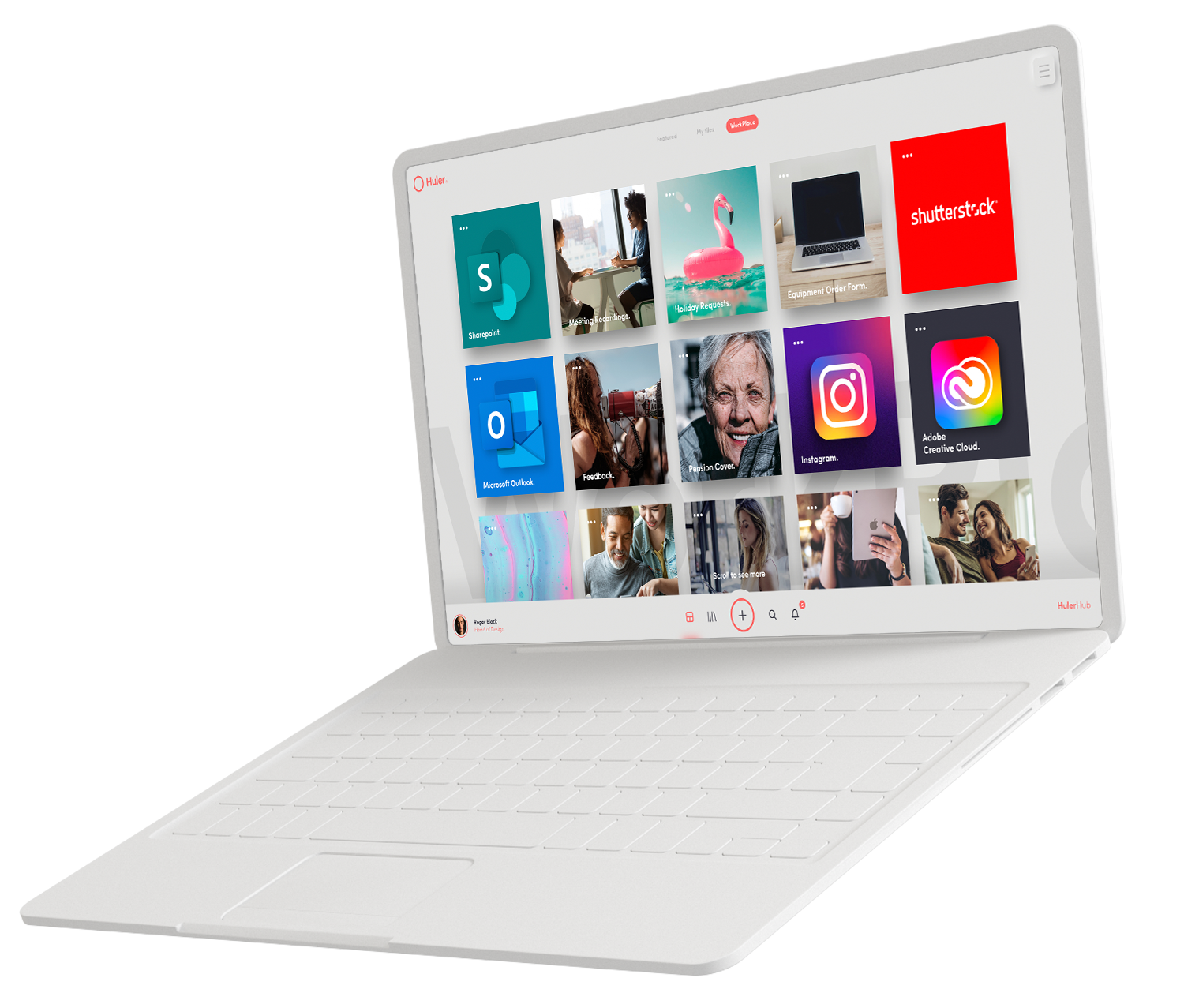 A graphic design of a white laptop. The display shows the HulerHub Workplace populated with a number of tiles including Sharepoint, Outlook, Instagram, and Shutterstock.